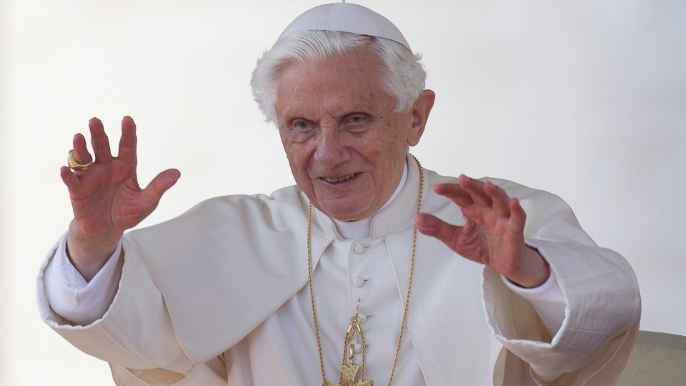 Pope Benedict XVI blesses the faithful in St. Peter's Square at the Vatican for his weekly general audience on Oct. 24,2012. (AP /Andrew Medichini)