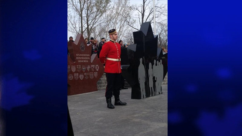 A soldier stands in front of the Afghanistan Repatriation Memorial in Trenton, Ont., Nov. 10, 2012. (Ashley Rowe / CTV Toronto)