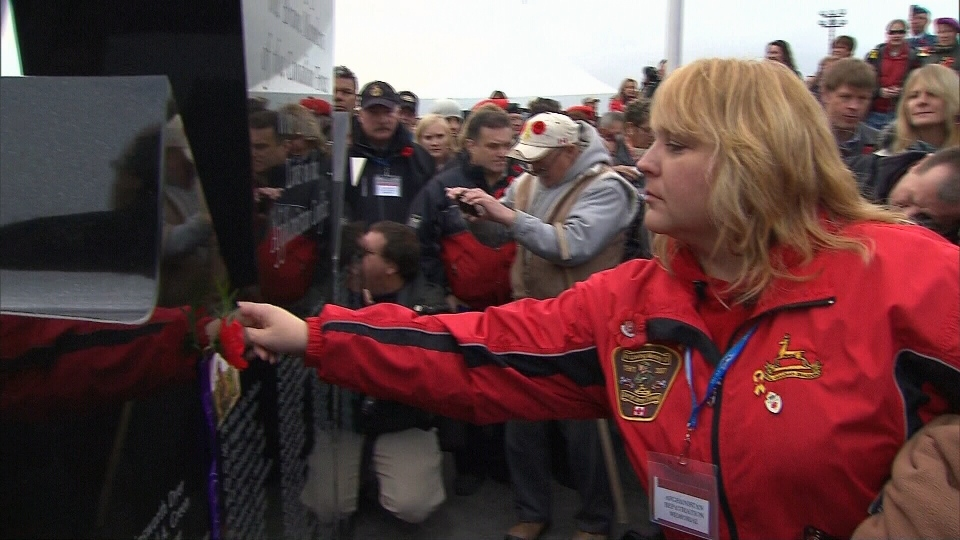 A poppy is placed on the Afghanistan Repatriation Memorial in Trenton, Ont., Nov. 10, 2012.