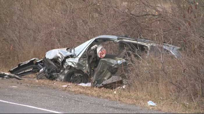 Investigators from the Laval police picked over a gruesome accident scene after a violent collision between two cars.