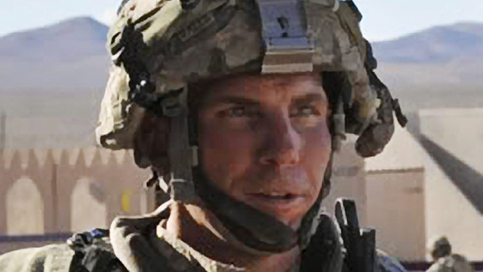Staff Sgt. Robert Bales participates in an exercise at the National Training Center at Fort Irwin, Calif., Aug. 23, 2011. (Defense Video & Imagery Distribution System, Spc. Ryan Hallock)