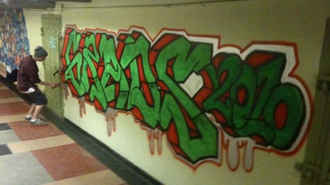 Mitch Bracken spraypainted this on the wall at MacDonald High for the 2010 graduating class.