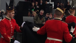 Soldiers unveil a memorial for Canadian soldiers killed in Afghanistan, in Trenton, Ont., Saturday, Nov. 10, 2012. (Ashley Rowe / CTV Toronto)
