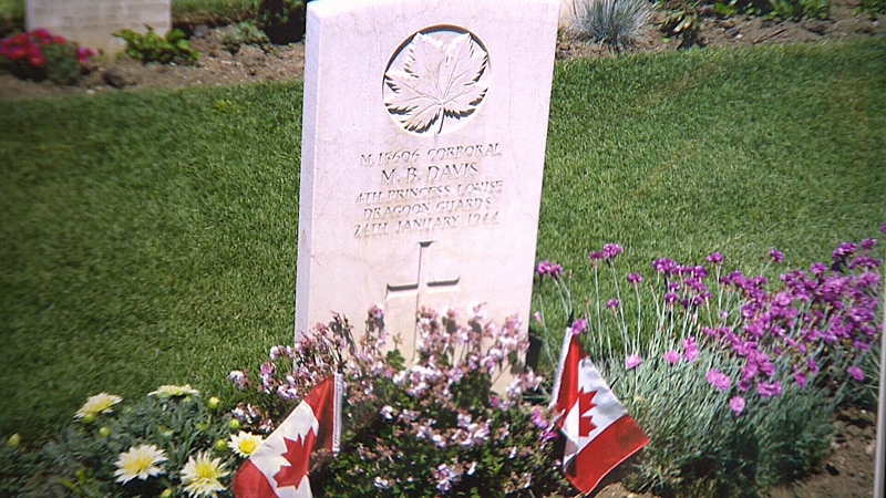 Merle Davis' grave in Ortona, Italy. Merle, who grew up in Edmonton, fought during World War II and died during the Battle of Ortona.