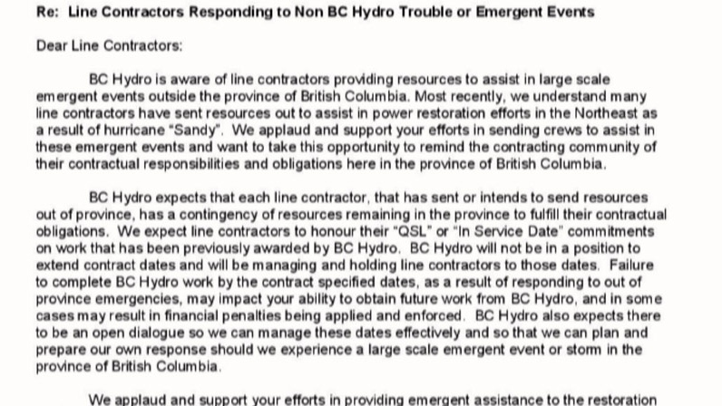 BC Hydro has written to its line contractors, saying those who are helping with the Sandy clean-up could be fined if they don't return to B.C. November 10, 2012. (CTV)