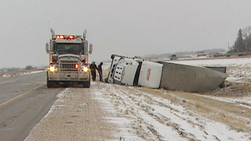 Icy road conditions were blamed for a number of car collisions in Winnipeg on Saturday, Nov. 10, 2012. (CTV Winnipeg)