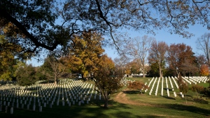 Early morning sun lights headstones at Arlington National Cemetery, in Arlington, Va., as the country commemorates Veterans Day, Sunday, Nov. 11, 2012.  (AP Photo/Manuel Balce Ceneta)