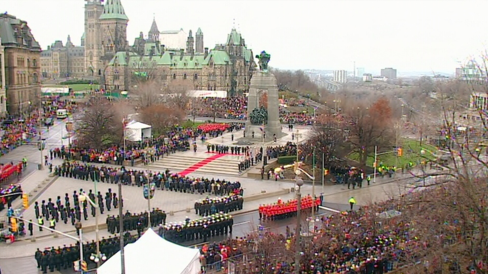 Hundreds attend a Remembrance Day ceremony being held at Parliament Hill in Ottawa on Sunday, Nov. 11, 2012.