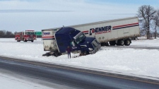 semi crash Highway 1
