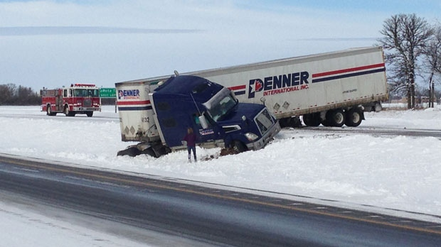 This semi crashed on the Trans-Canada Highway near the Portage la Prairie bypass Sunday afternoon.