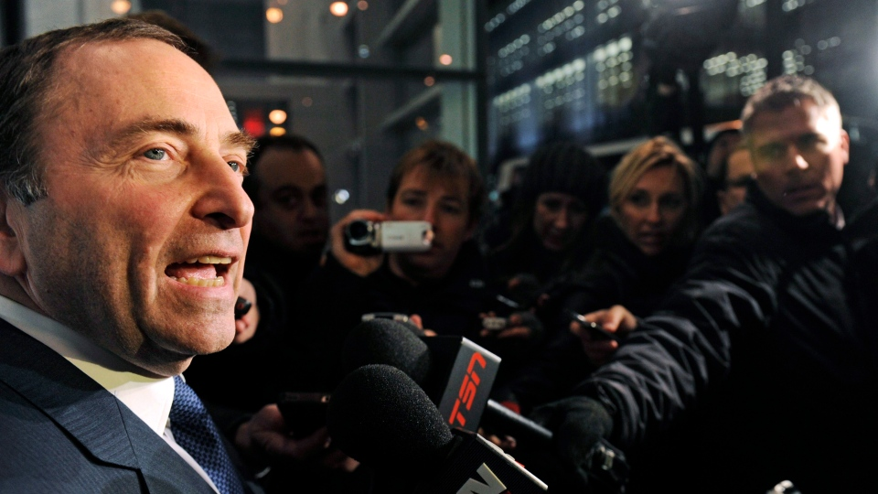 NHL Commissioner Gary Bettman speaks to reporters following labor talks in New York, Friday, Nov. 9, 2012. (AP / Louis Lanzano)