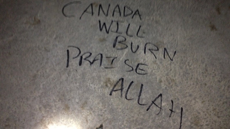 Vandalism is seen on the Victory Peace war memorial in Coronation Park on Sunday, Nov. 11, 2012. (Sean MacInnes / CTV Toronto)