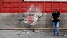 Rocket damage in Sderot, Israel on Nov. 11, 2012.