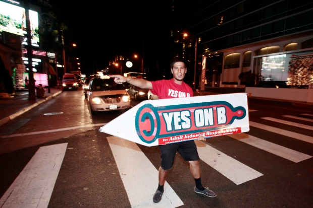 Ballot measure supporter on Oct. 27, 2012.