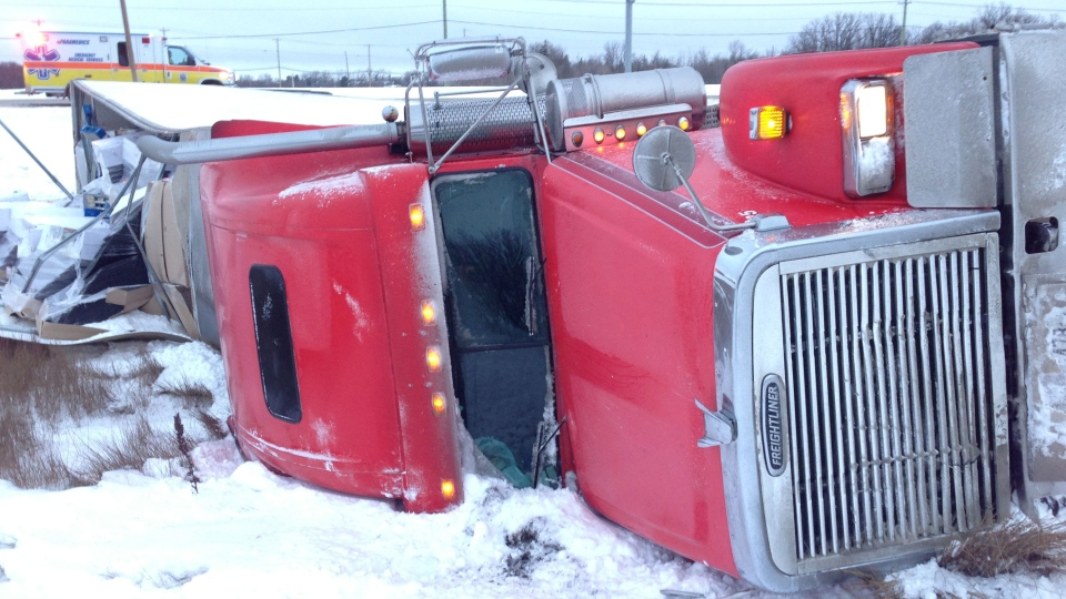 A semi trailer rolled at the Perimeter and St. Mary's Road.