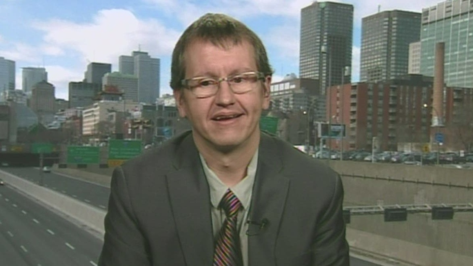 William Groombridge, who is suing Concordia University, is shown speaking to Canada AM, Monday, Nov. 12, 2012.