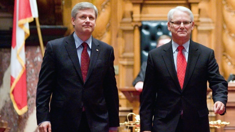 Prime Minister Stephen Harper, left, and B.C. Premier Gordon Campbell leave the B.C. Legislature house following Harper's historic address to house members Thursday, Feb. 11, 2010. This event marks the first time a prime minister has spoken at the B.C. Legislature, one day before the official start to the 2010 Vancouver Olympic Winter Games in Vancouver. THE CANADIAN PRESS/Geoff Howe