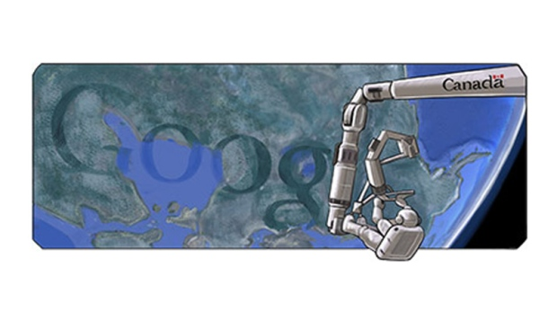 The Canadarm 'doodle' on Google.ca