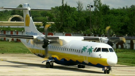 According to state TV says the AeroCaribbean passenger plane, similar to the one in the photo, went down near the village of Guasimal in the area of Sancti Spiritus, carrying 61 passengers and a crew of seven on Thursday, Nov. 4, 2010.