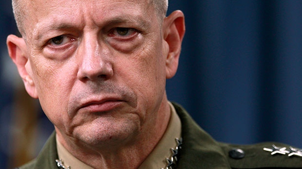 Marine Gen. John Allen listens during a news conference at the Pentagon in Washington, March 26, 2012.  (AP / Haraz N. Ghanbari)