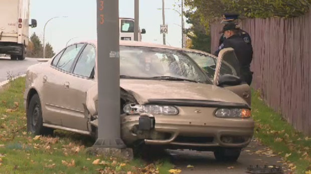 Police investigate after three youths crashed a stolen car into a power pole in north end Dartmouth.