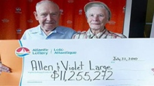 Allen and Violet Large, seen in this image taken from video, have decide to donate almost $11.2 million in lottery winnings.