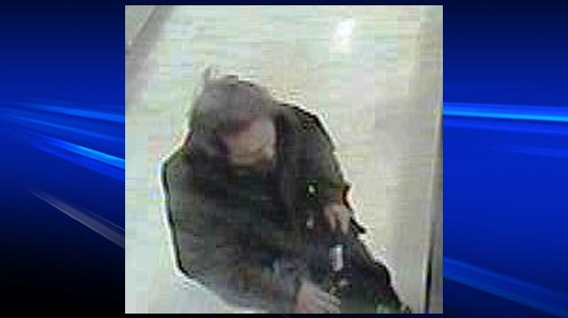 An image taken from surveillance video shows a man wanted in connection with a series of poppy box thefts in Brantford, Ont. (Courtesy Brantford Police Service)
