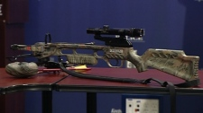 One of two crossbows seized from hunters discovered in a residential area of Saanich, B.C. Nov. 4, 2010. (CTV)