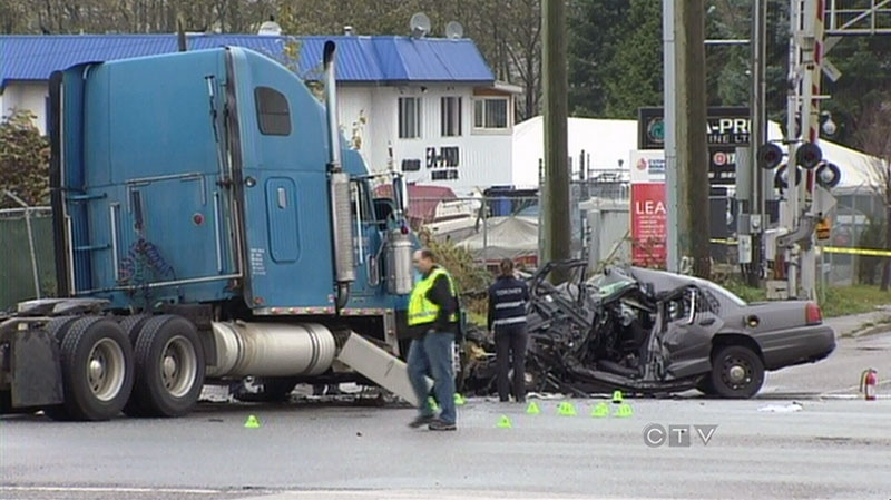Const. Adrian Oliver died when a semi truck collided with his RCMP cruiser in Surrey, B.C. on Tuesday, Nov. 13, 2012.