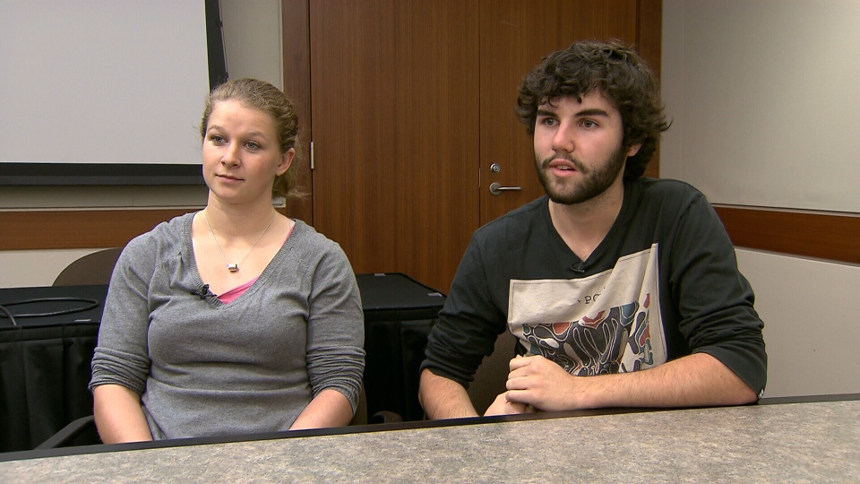Buffy Cornell (left) and Jay Luty, student delegates at an anti-bullying conference in Vancouver, speak about their experiences of being severely bullied in high school, Tuesday, Nov. 13, 2012.