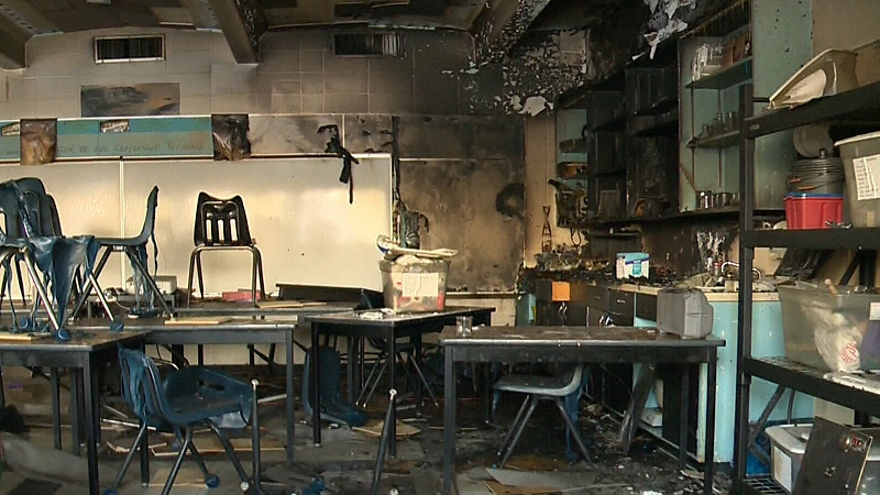 A classroom is damaged after an overnight fire at Meadowlark Christian School on Monday.