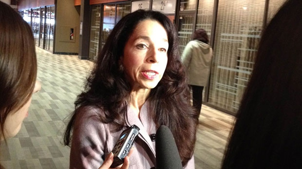Commission Counsel Sherri Walsh speaks with the media on Nov 14. during a recess in the Phoenix Sinclair Inquiry at the Winnipeg Convention Centre.