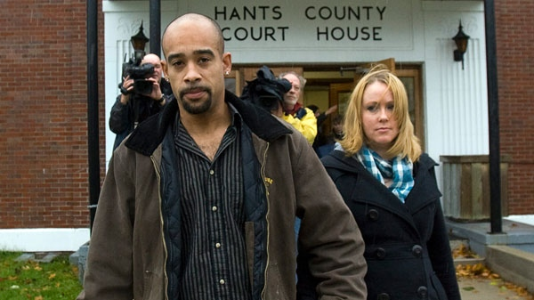 Shayne Howe, left, and Michelle Lyon leave the trial of Justin Rehberg at provincial court in Windsor, N.S. on Friday, Nov. 5, 2010. (Andrew Vaughan / THE CANADIAN PRESS)