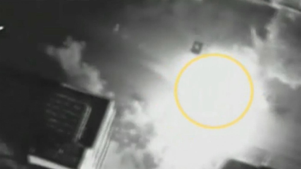 Image from aerial footage made available by the Israeli Defense Force Wednesday Nov. 14, 2012 shows the car of Hamas military chief, Ahmad Jabari, circled, exploding as an airstrike hit. (AP / IDF video via APTV)