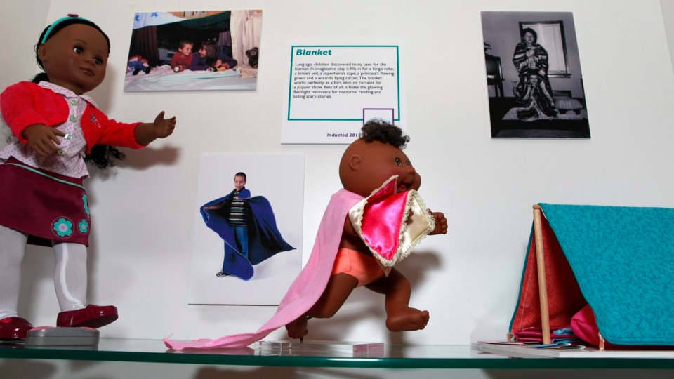 The blanket is introduced into the National Toy Hall of Fame on Thursday, Nov. 10, 2011 in Rochester, N.Y. A new batch of entries were expected Thursday, Nov. 15, 2012. (AP / Max Schulte)