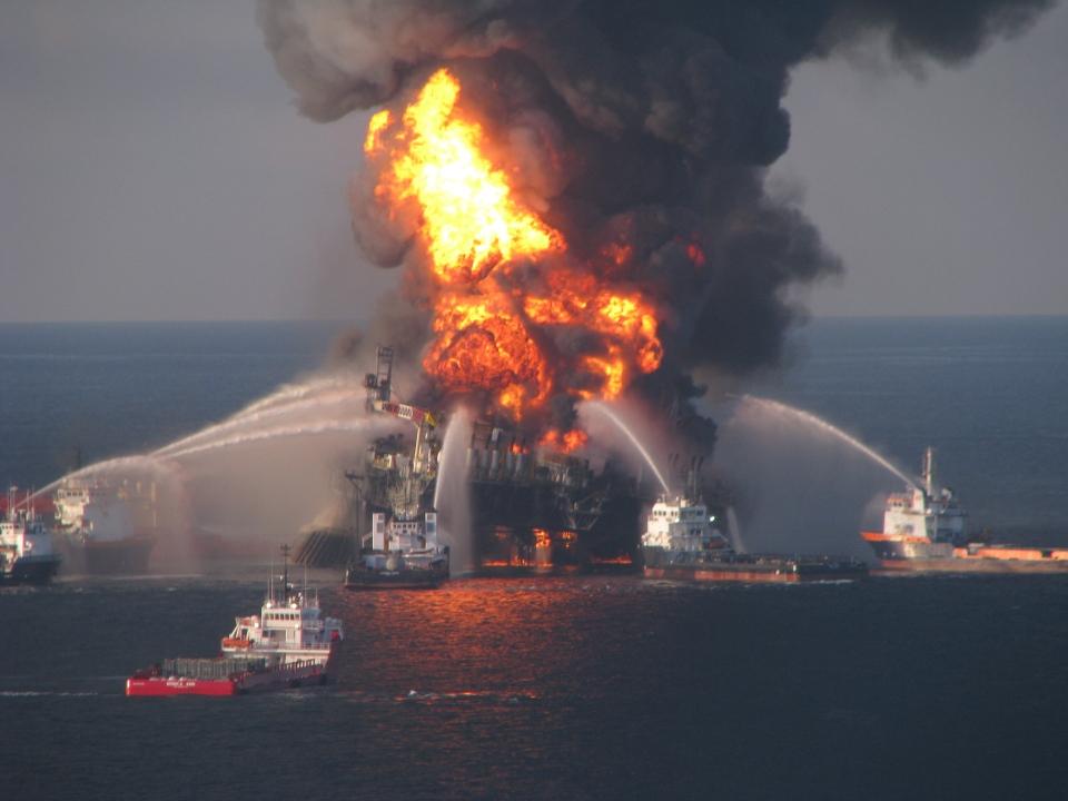 Fire boat response crews battle the blazing remnants of the off shore oil rig Deepwater Horizon, April 21, 2010.  (US Coast Guard)