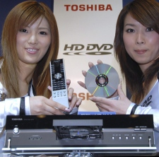 Models pose with Toshiba's new 'HD-XA1' HD DVD player in Tokyo on Friday, March 31, 2006. (AP / Katsumi Kasahara)