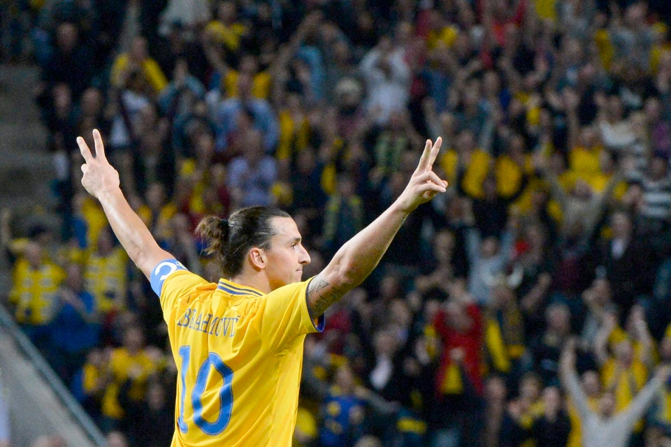 Zlatan Ibrahimovic, celebrates after scoring to take the score to 3-2, against England during their friendly soccer match at the new national soccer stadium 'Friends Arena' in Stockholm, Sweden, Wednesday Nov. 14, 2012. (AP Photo / Claudio Bresciani, SCANPIX)