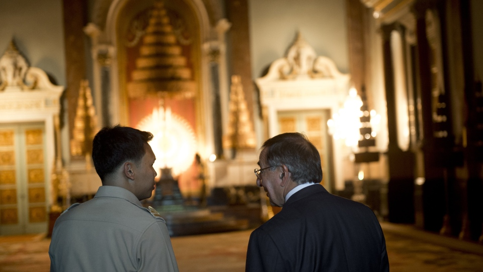 Secretary of Defense Leon Panetta, right, tours the Grand Palace in Bangkok on Thursday, Nov. 15, 2012. (AP Photo/Saul Loeb)