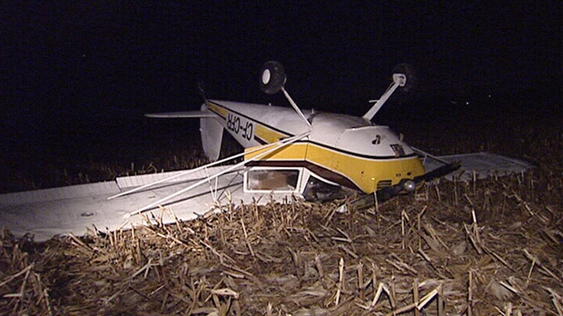 This two-seater plane ended up on its roof, but didn't catch fire after landing in a south Ottawa field Wednesday, Nov. 14, 2012.