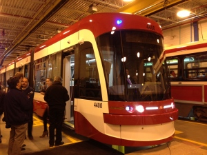 The TTC shows reporters new streetcars that will be in service in 2014. (Corey Baird/CTV Toronto)