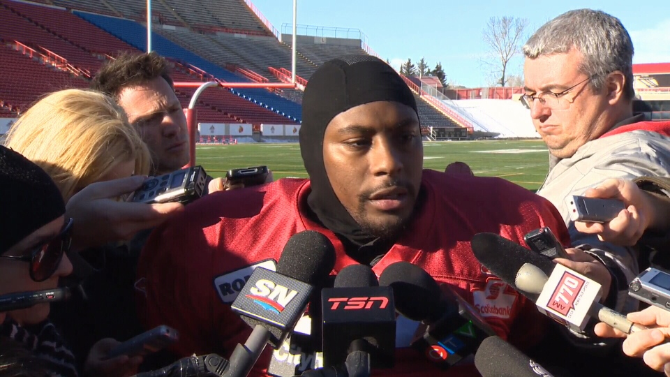 Calgary Stampeders running back Nik Lewis speaks to the media on Thursday, Nov. 15, 2012.