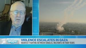 Split screen of violence in Gaza