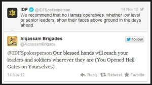 The Israeli Defence Force and Alqassam Brigades exchange tweets on Wednesday, Nov. 2012.