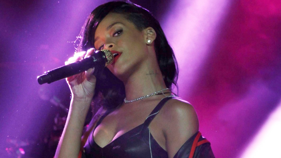 Rihanna performs during the first stop of her 777 worldwide tour at the Plaza Condesa in Mexico City, Wednesday, Nov. 14, 2012. (AP / Marco Ugarte)