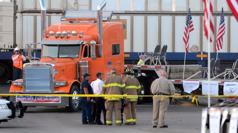 Midland police, fire and sheriffs respond to an accident where a trailer carrying wounded veterans in a parade was struck by a train in Midland, Texas, Thursday, Nov. 15, 2012. (AP / Reporter-Telegram, James Durbin)
