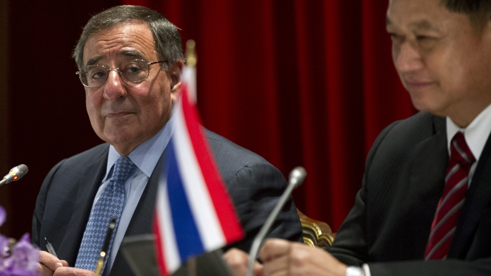 U.S. Secretary of Defense Leon Panetta, left, holds a joint press conference with this Thai counterpart Sukampol Suwannathat following meetings at the Ministry of Defense in Bangkok on Thursday, Nov. 15, 2012. (AP / Saul Loeb)
