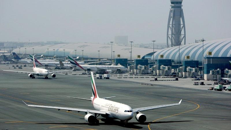 An Emirates airline passenger jet taxis on the tarmac at Dubai International airport in Dubai, United Arab Emirates, Tuesday, April 20, 2010. (AP / Kamran Jebreili)