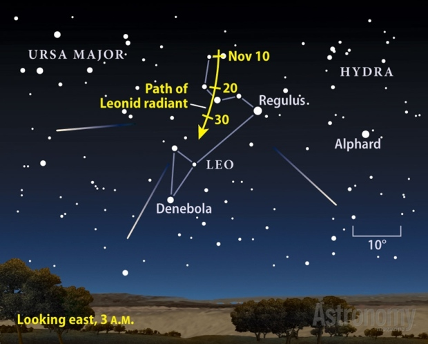 Sky map for the annual meteor shower Nov 17th 2012