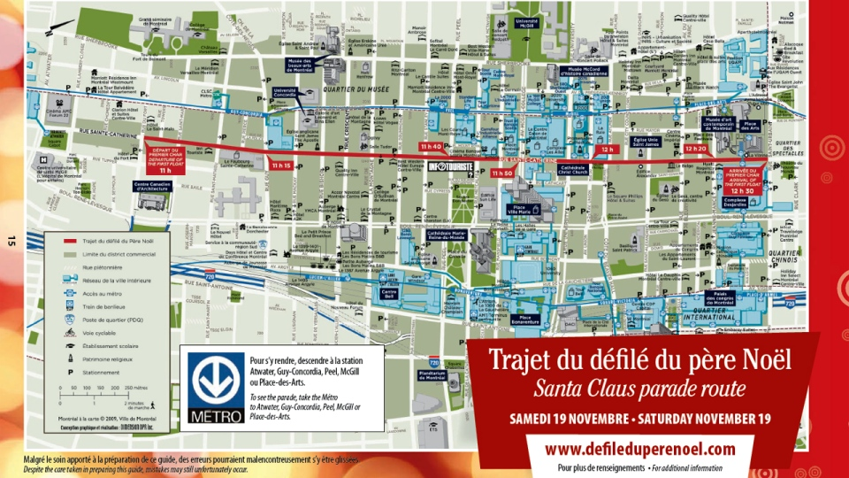 Here's the route that will be taken Santa Claus and his hundreds of elves on Saturday Nov. 17, 2012.